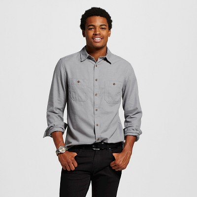 Men's Twill Button Down Shirt Cement M - Mossimo Supply Co.™