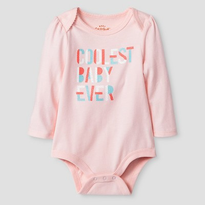 Baby Girls' Long-Sleeve Coolest Baby Ever Bodysuit Baby Cat & Jack™ - Pink NB