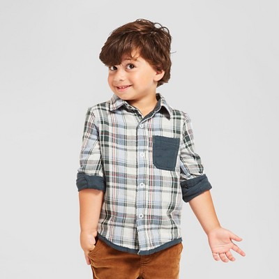 Toddler Boys' Plaid Button Down Shirt - Blue and White 3T - Genuine Kids™ from Oshkosh®