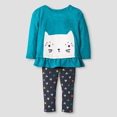 Baby Girls' Kitty Top and Bottom Legging Set Turquoise 12M - Cat & Jack™