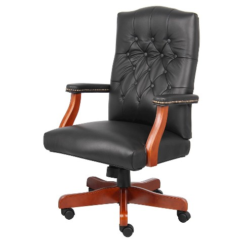executive leather chair with cherry finish black target