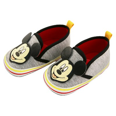 Baby Boys' Disney Mickey Mouse Crib Shoes Grey 9-12M