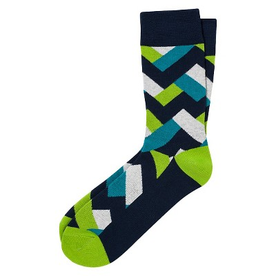 Pair of Thieves Men's Performance Casual Socks - Salmon and Teal Tribal 8 - 12