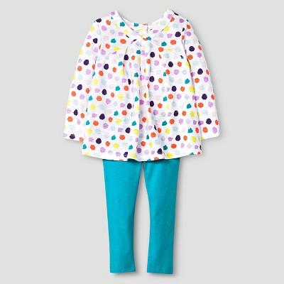 Baby Girls' Top and Bottom Legging Set Polka Dot White 12M - Cat & Jack™