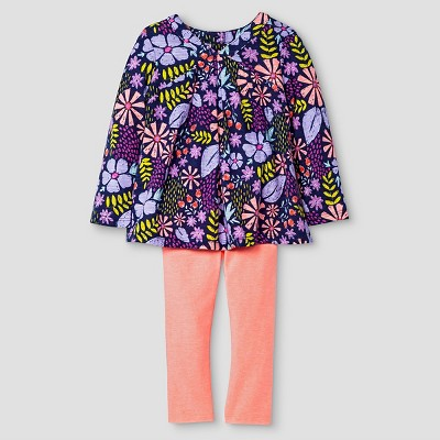 Baby Girls' Top and Bottom Legging Set Floral Purple 18M - Cat & Jack™