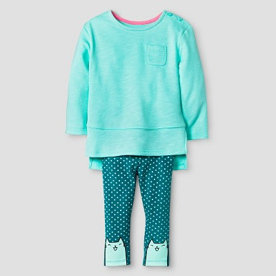 Baby Girls' 2-Piece Set - Crystalized Green 12M - Cat & Jack™