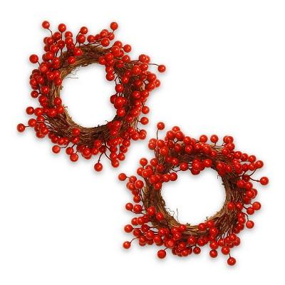 "Wreath set of 2 - Berry (9"")"
