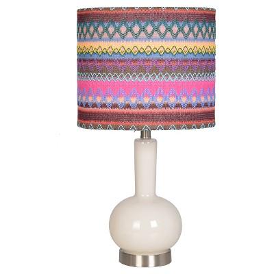 "Accent Glass Lamp Base - White/Multicolor (10x10x18.5"") Boho Boutique"