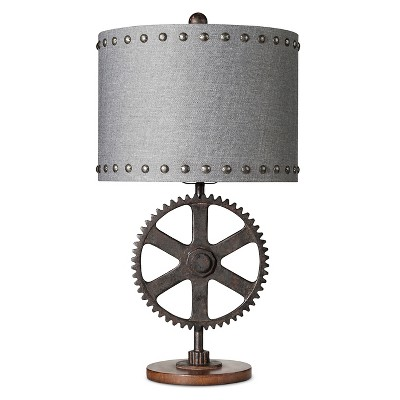 "Polyresin Table Lamp Gear with Base - Bronze/Gray (13x13x23"") The Industrial Shop"