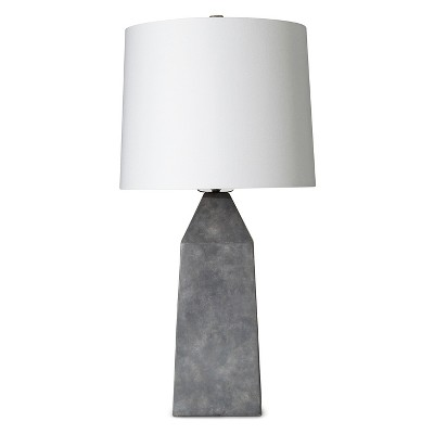 "Concrete Table Lamp - Grey/White (13.5x13.5x27"") The Industrial Shop"