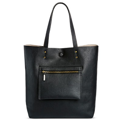 Women's Faux Leather Tote Handbag Black  - Mossimo Supply Co.™