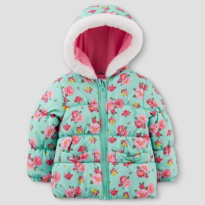 Just One You™Made by Carter's® Girls' Floral Puffer Jacket - Mint 12M
