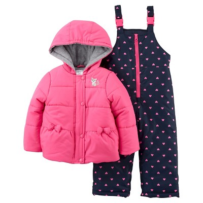 Just One You™Made by Carter's® Girls' 2 Piece Snowsuit Set - Pink/Navy 12M