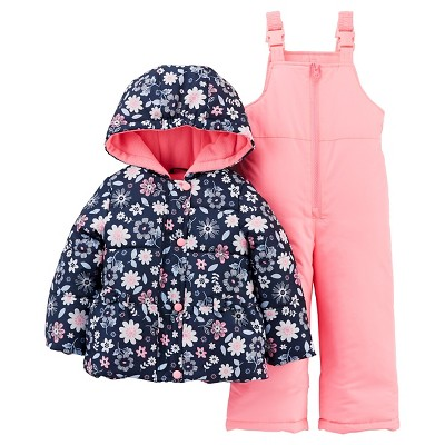 Just One You™Made by Carter's® Girls' 2 Piece Snowsuit Set - Navy Floral/Pink 12M