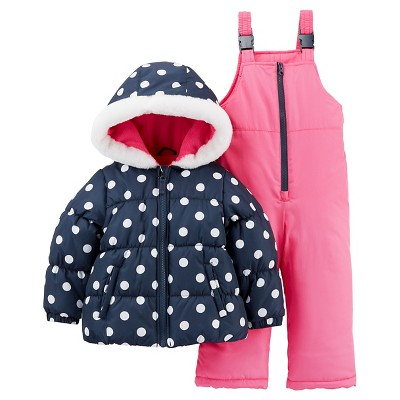 Just One You™Made by Carter's® Girls' 2 Piece Snowsuit Set - Navy Dot/Dark Pink 12M