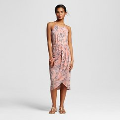 Floral Draped Midi Dress Peach - Le Kate