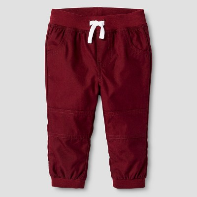 Baby Boys' Lined Jogger Pant Baby Cat & Jack™ - Deep Red 6-9M