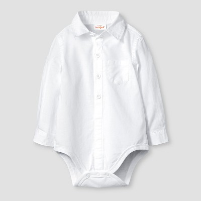 Baby Boys' Long-Sleeve Button Front Woven Bodysuit Baby Cat & Jack™  - White 6-9M