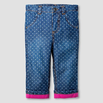 Baby Girls' Polka Dot Lined Denim Jeans Baby Cat & Jack™  - Dark Wash 0-3M