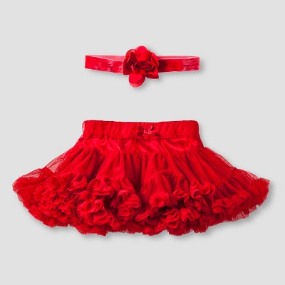 Baby Girls' Tutu Skirt and Headband Set Baby Cat & Jack™  - Red 6-9M