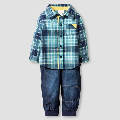 Baby Boys' Plaid Shirt and Denim Jogger Baby Cat & Jack™  - Blue 3-6M