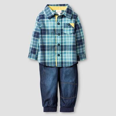 Baby Boys' Plaid Shirt and Denim Jogger Baby Cat & Jack™  - Blue 3-6M