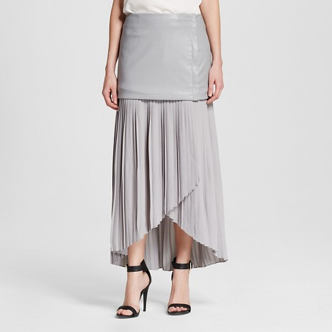 s faux leather and pleated chiffon skirt s target