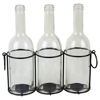 Glass Bottles Tealight Candle Holders in Metal Stand
