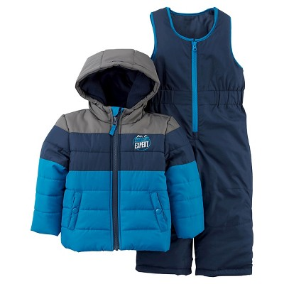 Just One You™Made by Carter's® Boys' 2 Piece Snowsuit Set - Blue/Grey 12M