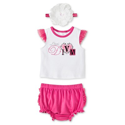 Vitamins Baby 3 Piece Diaper, Headband & Shirt Set - Pink 3M