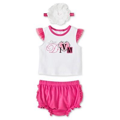 Vitamins Baby 3 Piece Diaper, Headband & Shirt Set - Pink 6M