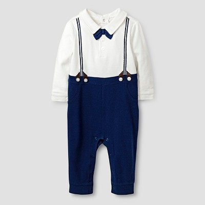 Baby Boys' Long-Sleeve Printed Bowtie and Suspenders Romper Baby Cat & Jack™  - Almond Cream/Blue 0-3M