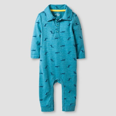 Baby Boys' Long-Sleeve Fox Print Polo Romper Baby Cat & Jack™  - Blue 0-3M