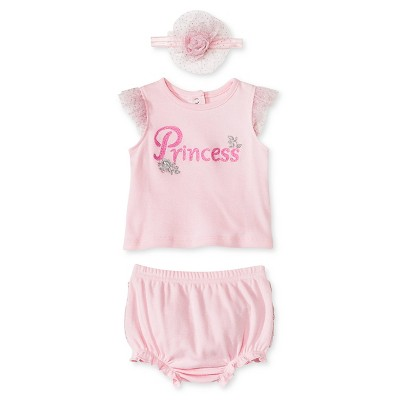 Vitamins Baby 3 Piece Diaper, Headband & Shirt Set - Princess 9M