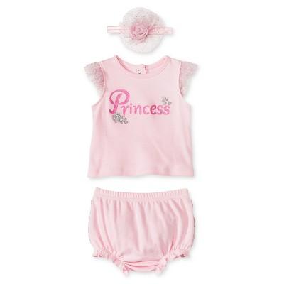 Vitamins Baby 3 Piece Diaper, Headband & Shirt Set - Princess 6M