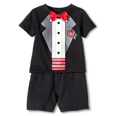 Vitamins Baby 3 Piece Tuxedo, Short & Bow Tie Set - Black 9M