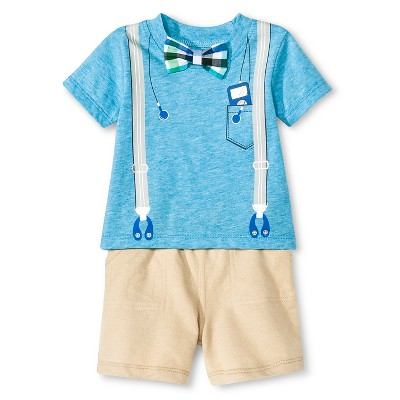 Vitamins Baby 3 Piece Suspender, Short & Bow Tie Set - Turquoise 6M