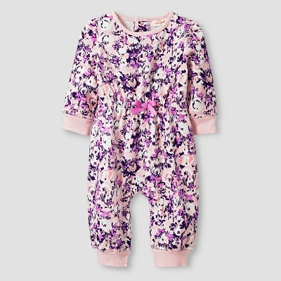 Baby Girls' Long-Sleeve Floral Coverall Baby Cat & Jack™  - Purple/Pink NB