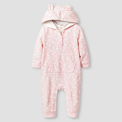 Baby Girls' Long-Sleeve Hooded Critter Coverall Baby Cat & Jack™  - Pink NB