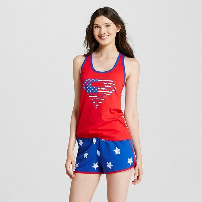 DC Comics® Superman Women's Tank and Star Print Boxer Short Set Red XS