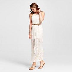 Women's Crochet Belted Maxi Dress - Lily Star (Juniors')