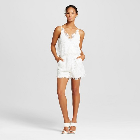 Women's Lace Romper with Pockets Cream - K by Kersh