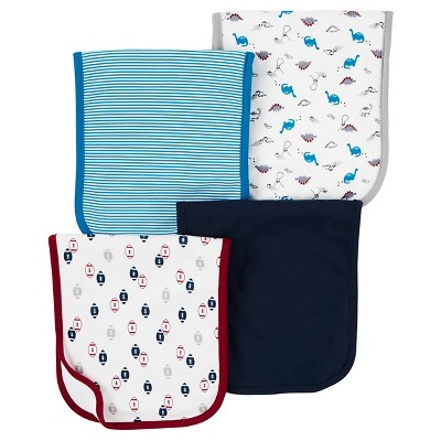 Baby Boys' 4 Pack Blue Dino Burp Cloth Set  - Just One You™Made by Carter's®