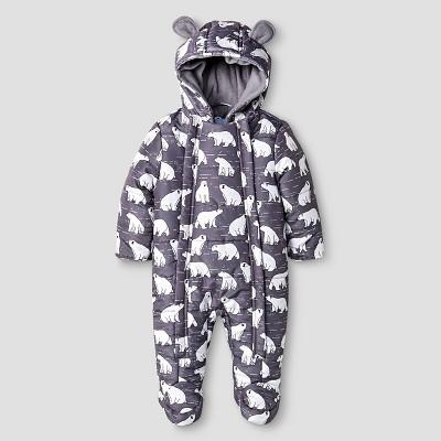 Baby Boys' Wippette Polar Bear Fleece Lined Insulated Printed Microfiber Pram Grey 3-6M