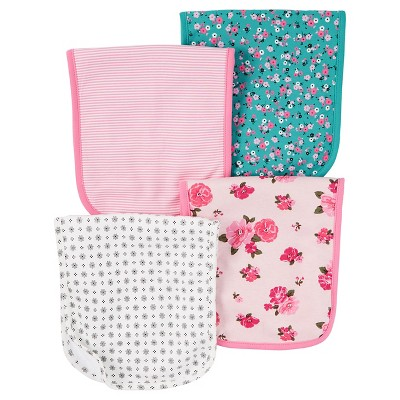 Baby Girls' 4 Pack Pink Floral Burp Cloth Set  - Just One You™Made by Carter's®