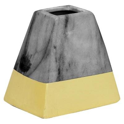 """4.75""""x3.5"""" Ceramic Vase - Dark Gray/Gold"""