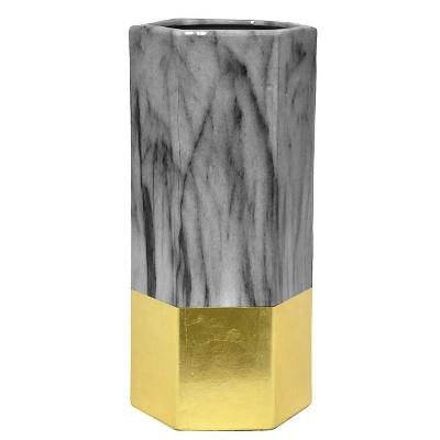 """12""""x5.75"""" Ceramic Vase - Dark Gray/Gold"""
