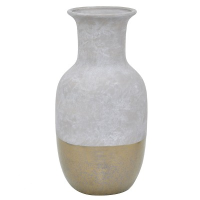 "12.25""x6"" Ceramic Vase - Gray/Gold"