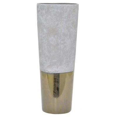 """19""""x7.25"""" Ceramic Vase - Gray/Gold"""