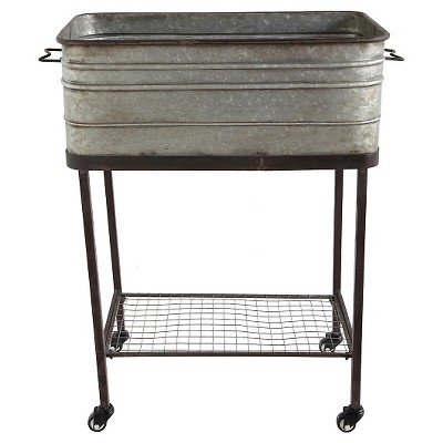 "Square Metal with Ash Tub On Stand (17-3-4"" x 32-1-2""H)"